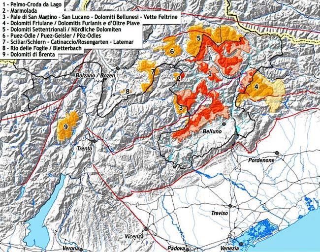 Carta suddivisione delle aree dolomitiche in relazione alla provincia di Belluno