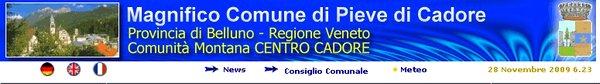 banner sito internet del comune di Pieve di Cadore