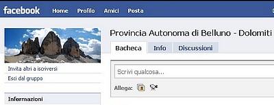"""ritaglio di una schermata del gruppo facebook """"Provincia Autonoma di Belluno Dolomiti"""""""