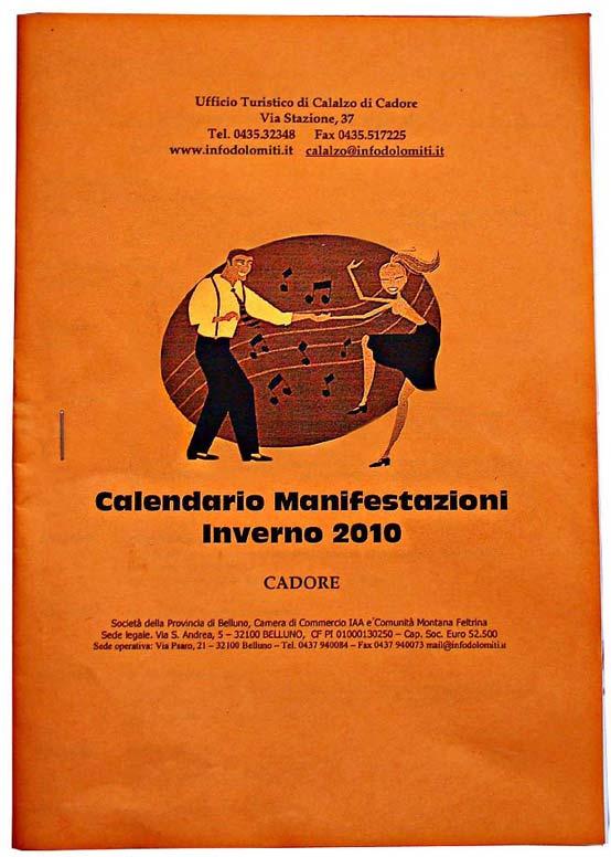 Immagine della copertina della pubblicazione 2010 delle manifestazioni invernali in Cadore