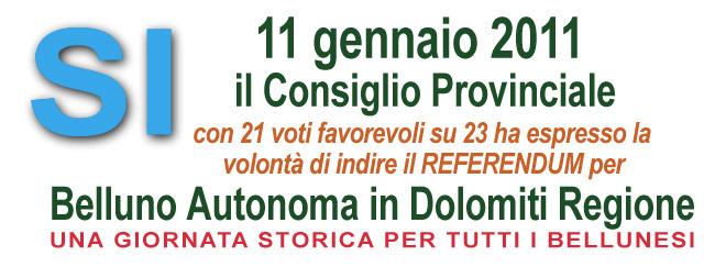 11 gennaio 2011 il consiglioprovinciale dà il via al referendum per Belluno Autonoma