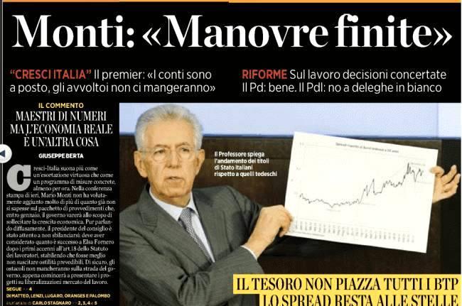 Mario Monti illustra l'andamento dello spread alla conferenza stampa di fine 2011