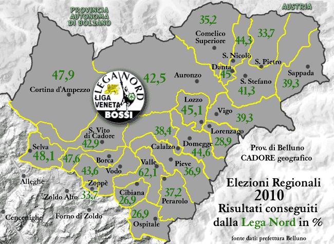 Cadore: risultati Lega Nord regionali 2010