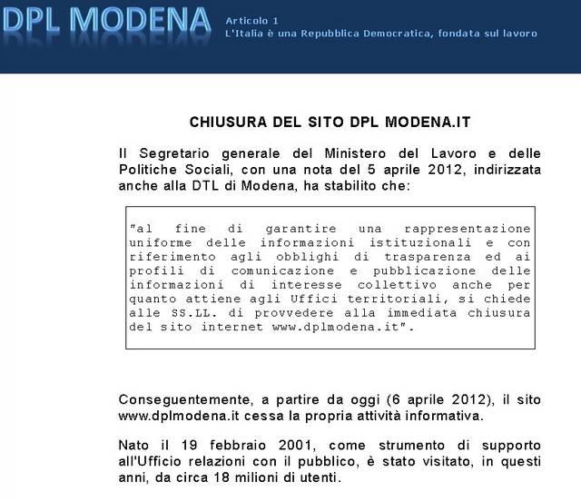 dpl-modena (chiusura sito)