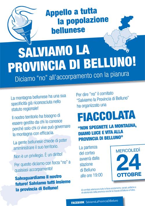 """""""Salviamo la provincia di Belluno"""" volantino"""