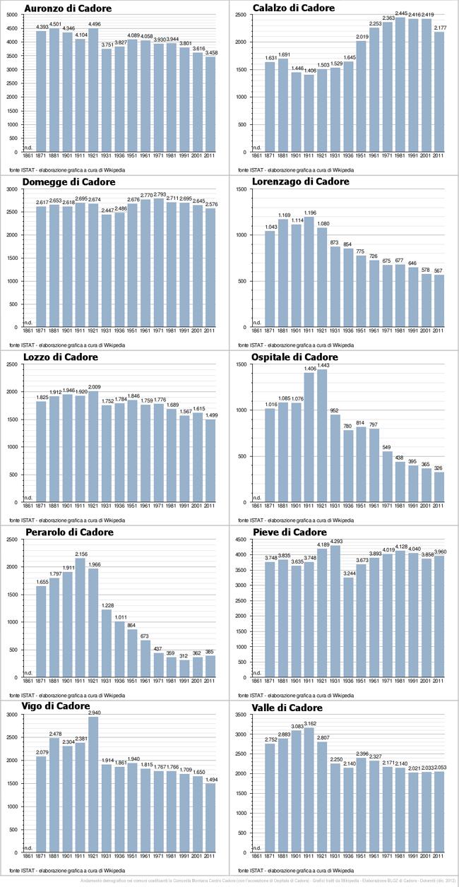 "infografica andamento demografico nell'area ""centro-cadorina"""