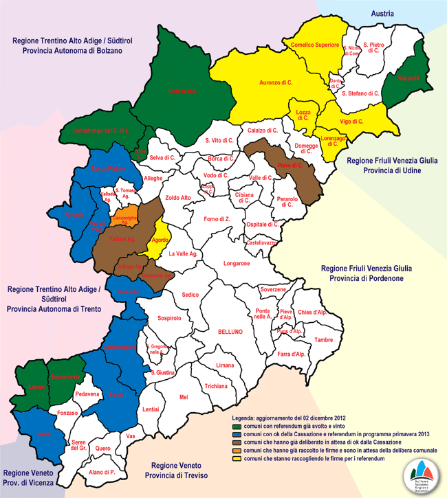mappatura dello stato dei referendum comunali in provincia di Belluno (aggiornamento 02 dic. 2012)
