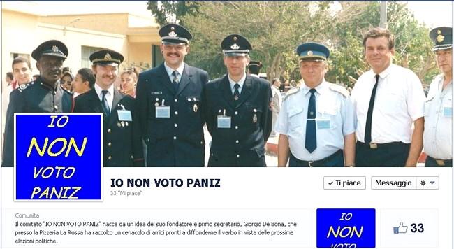"""pagina facebook """"Io non voto Paniz"""""""