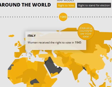 clicca per visualizzare la mappa interattiva sui diritti politici conseguiti dalle donne nel mondo