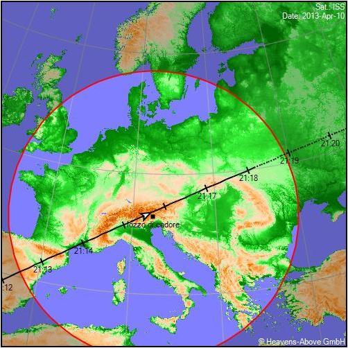 passaggio ISS - Stazione Spaziale Internazionale 10 aprile 2013 su Lozzo di Cadore