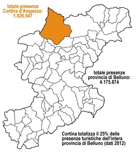 mappa provincia di Belluno con Cortina che totalizza il 25% delle presenze turistiche 2012