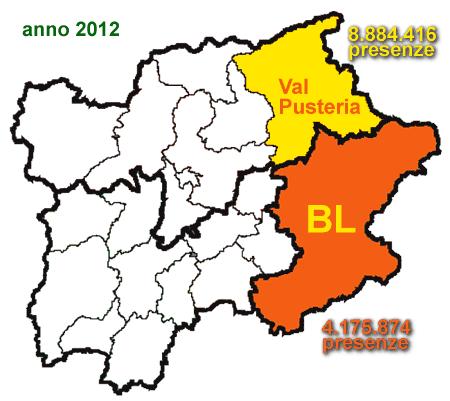 mappa Val Pusteria e provincia di Belluno: presenze turistiche anno 2012