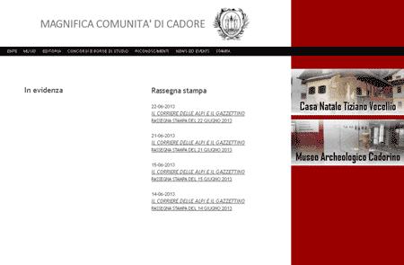 home page del sito della Mgnifica Comunità del cadore
