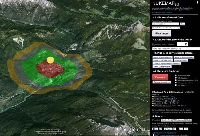 simulazione esplosione atomica di 15 chilotoni a Lozzo di Cadore