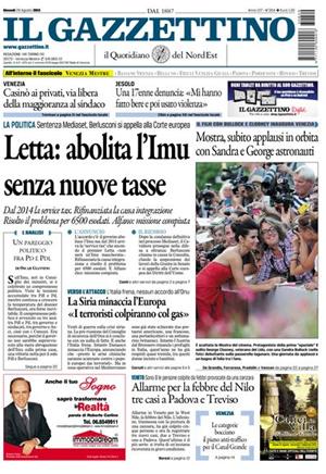 prima pagina Gazzettino 29 agosto 2013