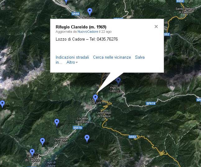 versione giovanile della mappa dei rifugi del Cadore ... in attesa di versione più meditata