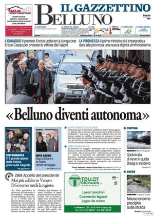 """prima pagina bellunese del Gazzettino 12 ottobre 2013 """"Belluno diventi autonoma"""""""