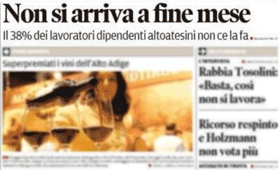stralcio prima pagine dell'Alto Adige dell'11 ottobre 2013
