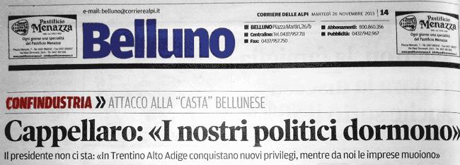 pagina 14 del Corriere delle Alpi martedì 26 novembre 2013
