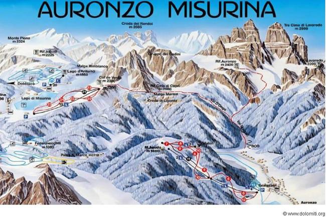 carta comprensorio sciistico di Auronzo-Misurina
