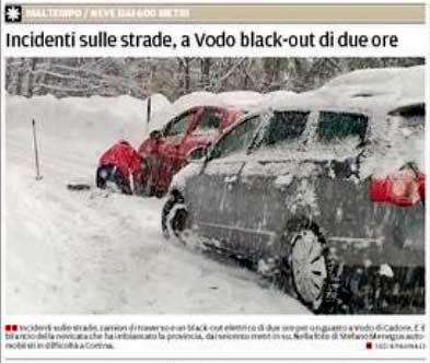 estratto dalla prima pagina del Corriere delle Alpi del 15 gennaio 2014