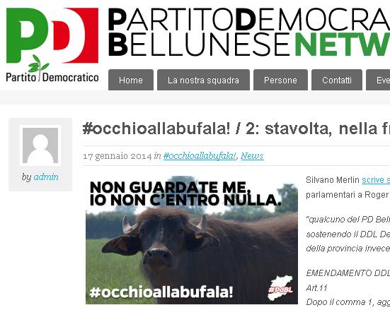 cattura schermo del sito del PD belumat articolo apparso il 17 gennaio 2014 #occhioallabufala /2