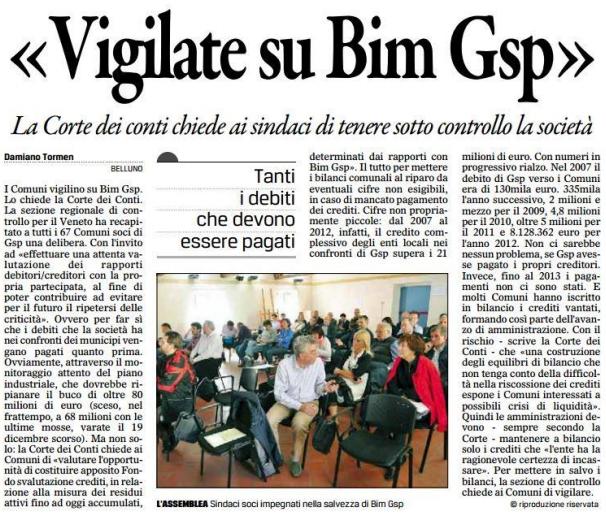 estratto Gazzettino 8 gennaio 2014