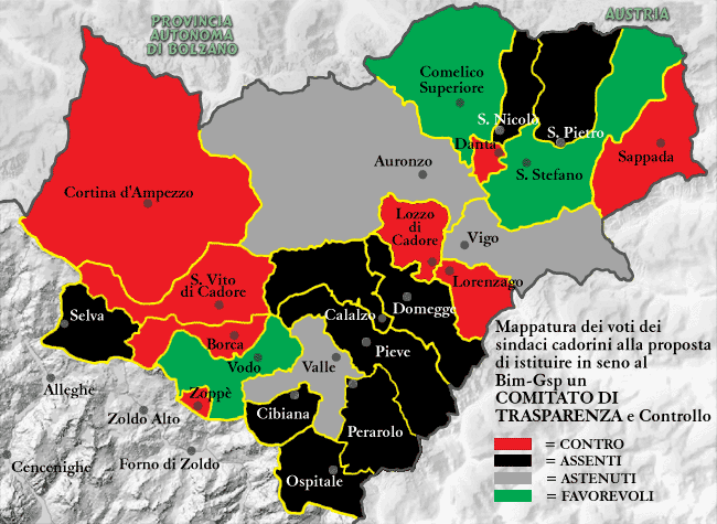 mappatura dei voti dei sindaci cadorini alla proposta di istituire in seno al Bim-Gsp un COMITATO DI TRASPARENZA
