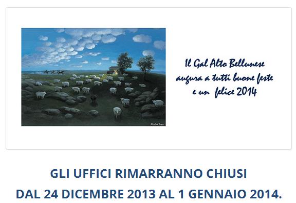 screenshot del sito del Gal Altobellunese il 27 febbraio 2014