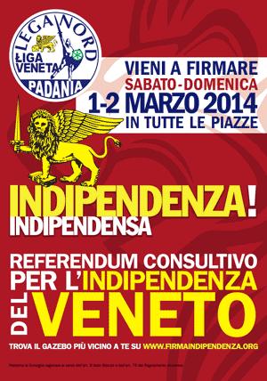 manifesto per la raccolta firme per l'indizine del referendum consultivo per l'Indipendenza del Veneto