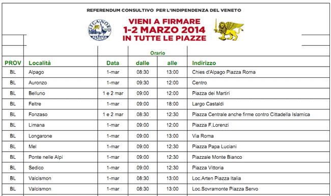 gazebo per raccolta firma referendum Indipendenza del Veneto in provincia di Belluno