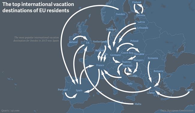 Principali destinazioni di vacanza dei residenti in UE (2013; Data European Commission)