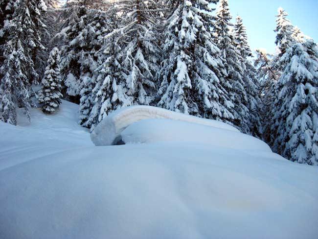 07 Tabià de Dumele (bivio per Croda) - Traversata da Deppo (Domegge) a Valdarin 23-02-2014 - Foto Eugenio Calligaro