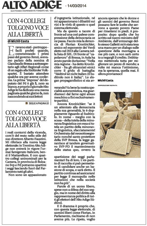 """estratto Alto Adige 14-03-2014: """"Con 4 collegi tolgono voce alla liberta'"""""""