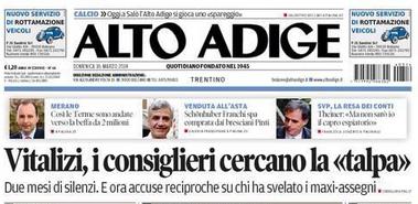estratto prima pagina Alto Adige 16 marzo 2014