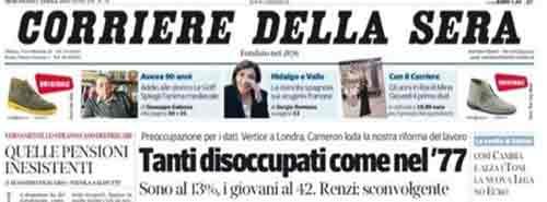 prima pagina del Corriere della Sera 02 aprile 2014