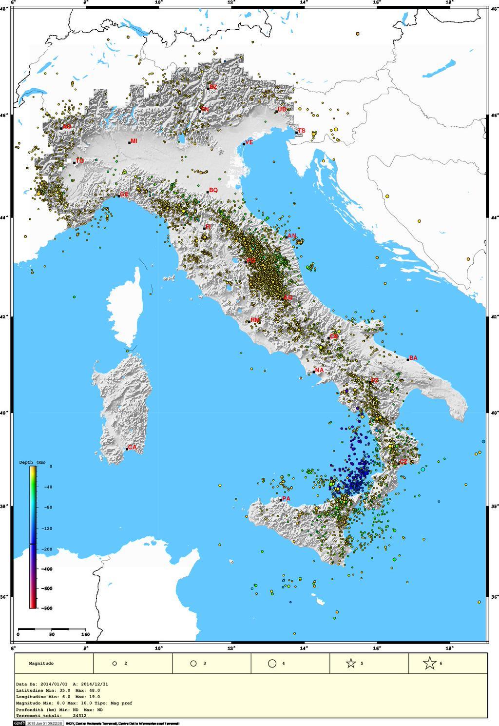 Cartina Dolomiti Italia.Mappa Dei Terremoti 24 312 Localizzati Dall Ingv In Italia Nel 2014 Bloz Il Blog Su Lozzo Di Cadore Dolomiti