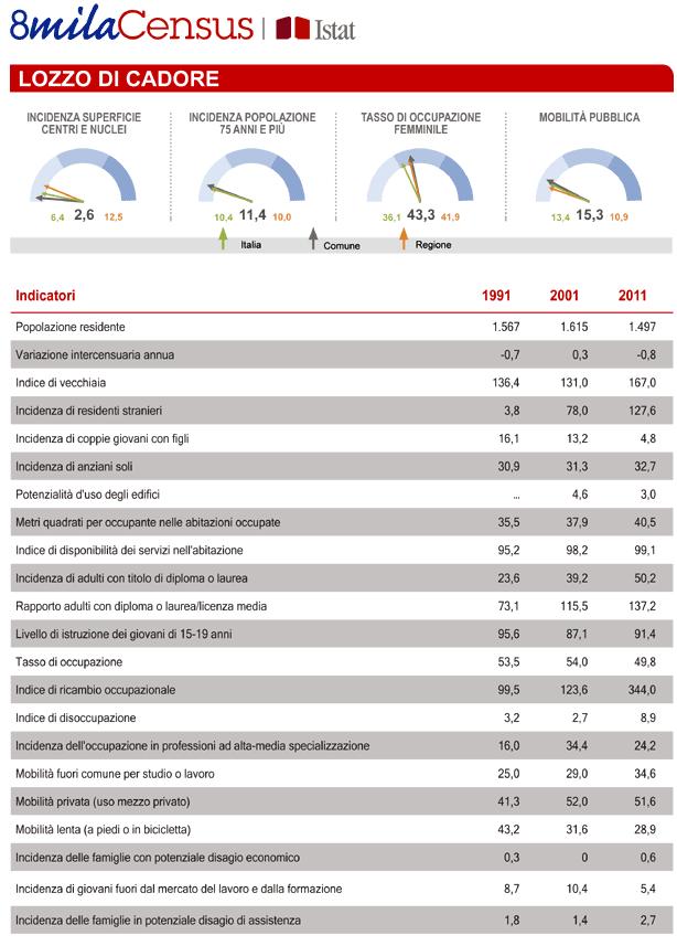 report con indicatori censuari comune di Lozzo di Cadore