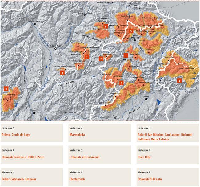 I nove gruppi del sistema Dolomiti Unesco