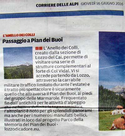 """tratto dall'inserto """"Weekend"""" del Corriere delle Alpi del 16 giugno 2016"""