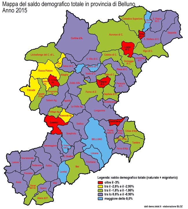 mappa del saldo demografico totale 2015 nei comuni della provincia di Belluno (clicca per ingrandire)