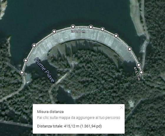 misura di distanze e asuperfici in Google Map