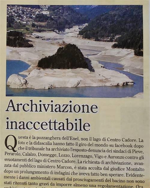"""Lago Centro Cadore svuotato: foto su """"il Cadore"""" anno LXIV - n.12 - dicembre 2016"""