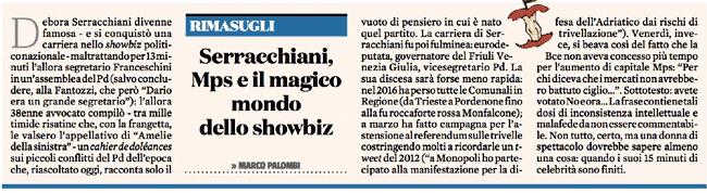 rimasugli, Marco Palombi: Serracchiani, Mps e il magico mondo dello showbiz