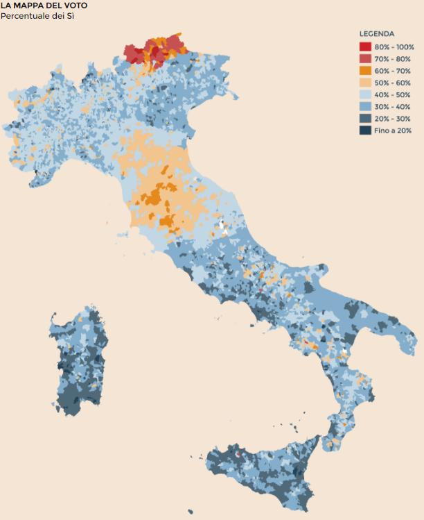 La mappa del voto referendario del 4 dicembre 2016 in Italia (tratta dal Sole 24 Ore)