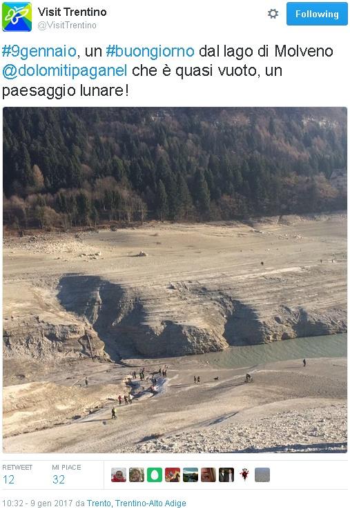 Lago Molveno vuoto (tratta da twitter)