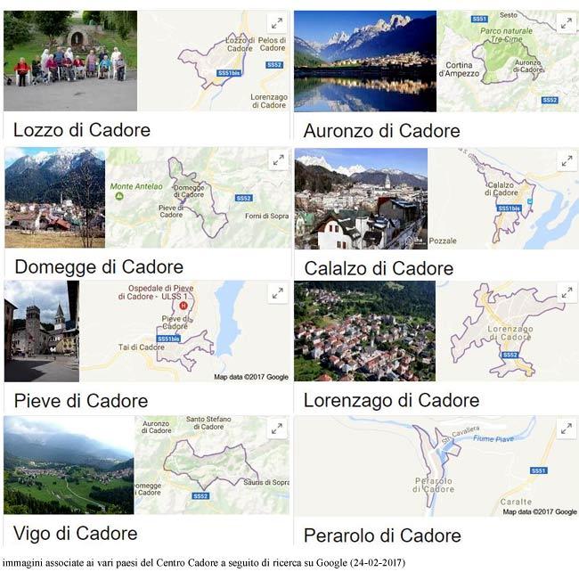 Le immagini che accompagnano i paesi centrocadorini su Google