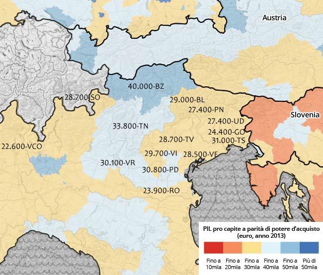Pil procapite a parità di potere d'acquisto (euro, anno 2013)
