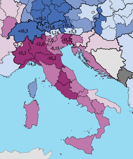 Variazione PIL procapite raprtata alla media UE-28, a parità di potere d'acquisto, nel periodo 2008-2014: alcuni valore regione italiane
