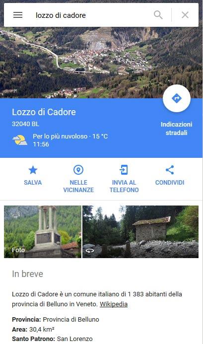 """pagina """"Lozzo di Cadore"""" su GMaps 01.04.2017"""